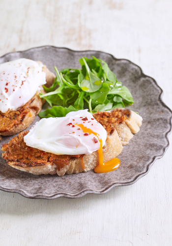 Bruschetta with 'Nduja and Poached Egg