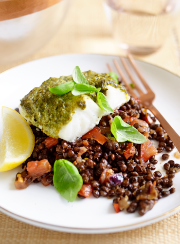 Baked Cod with Basil Pesto and Puy Lentils