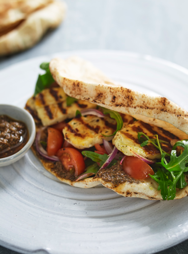 Grilled Halloumi with Olive Pesto, Flat Bread, Rocket and Tomato Salad