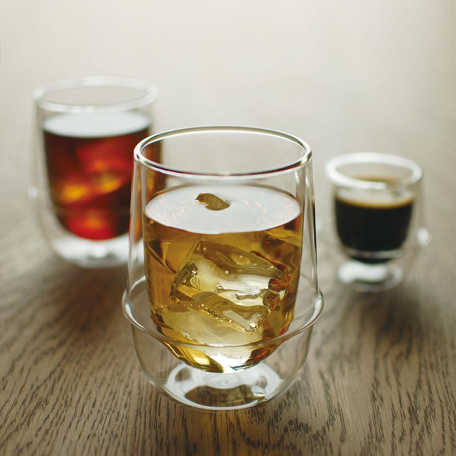 KINTO KRONOS DOUBLE WALL ICED TEA GLASS CLEAR