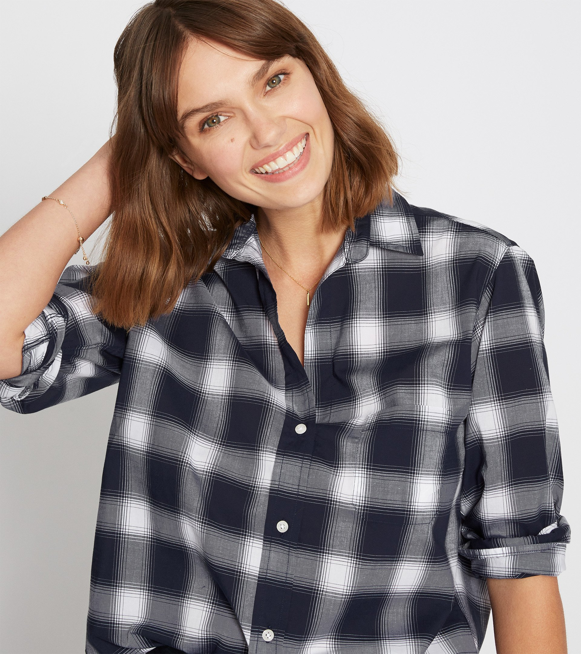Image of The Hero, Navy and White Plaid, Cool Cotton