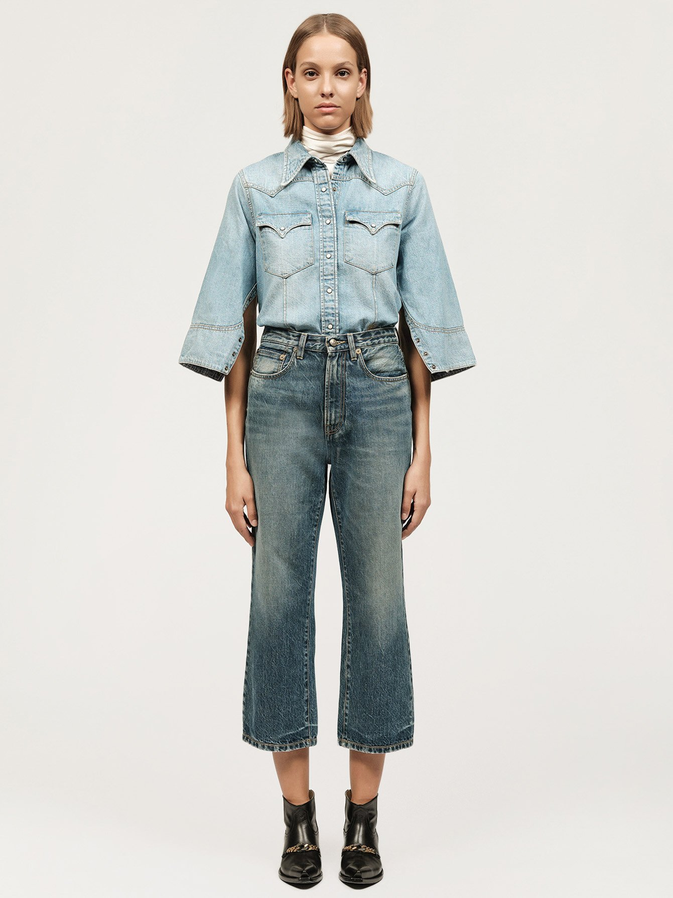Washed denim boyfriend jeans Small Image 0