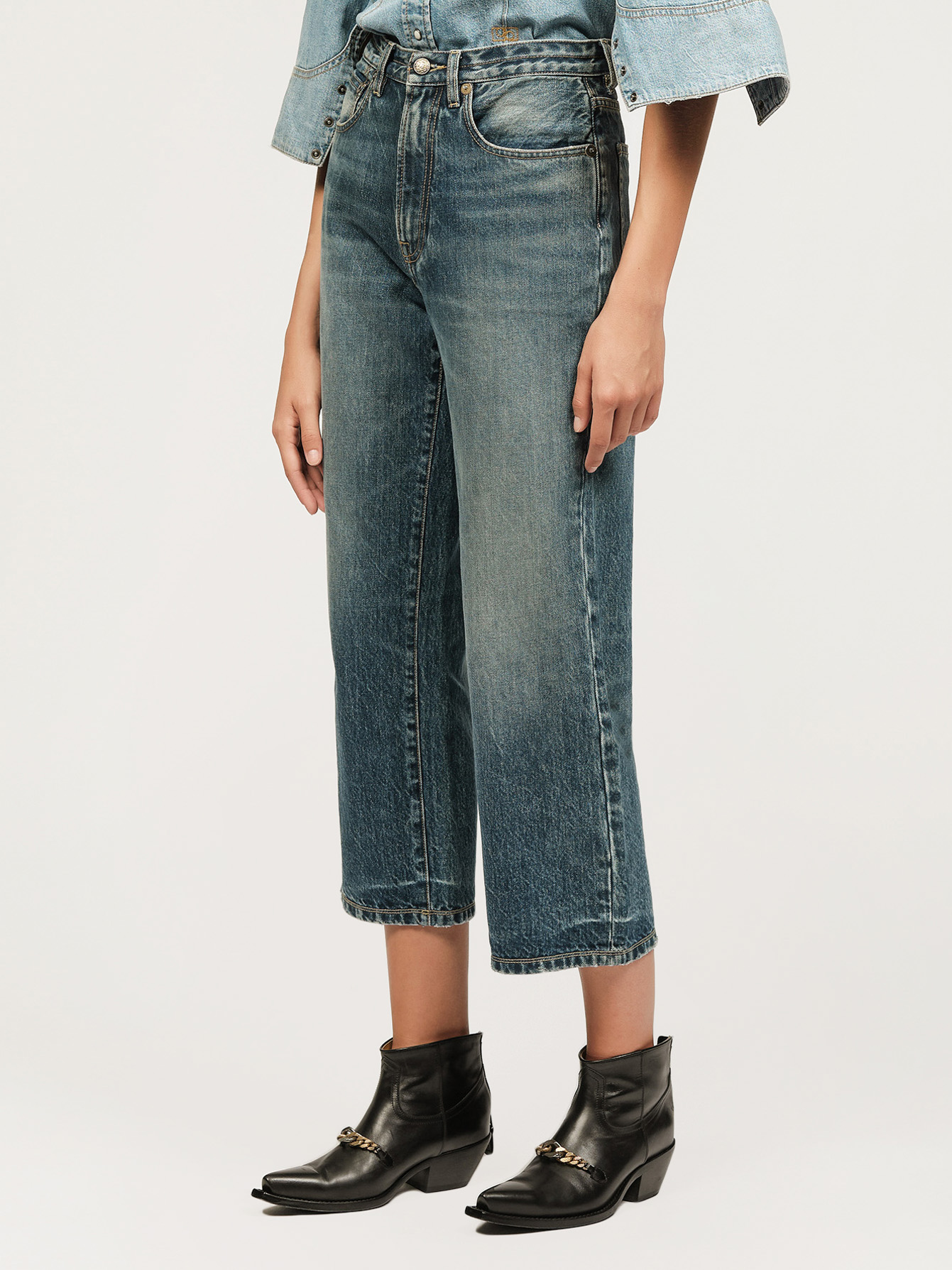 Washed denim boyfriend jeans Small Image 1
