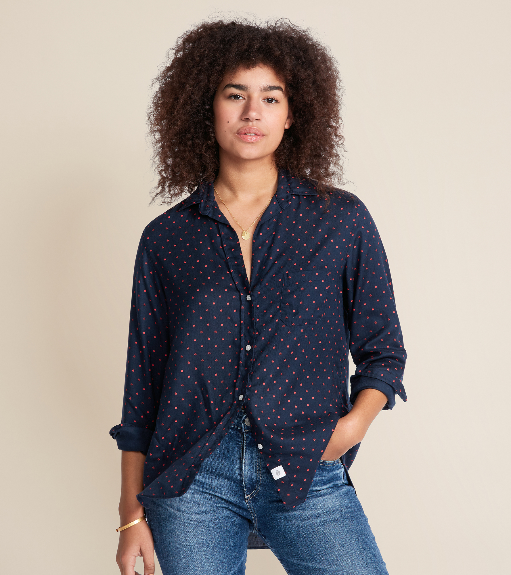 Image of The Hero Navy with Red Ladybugs, Liquid Flannel Sale