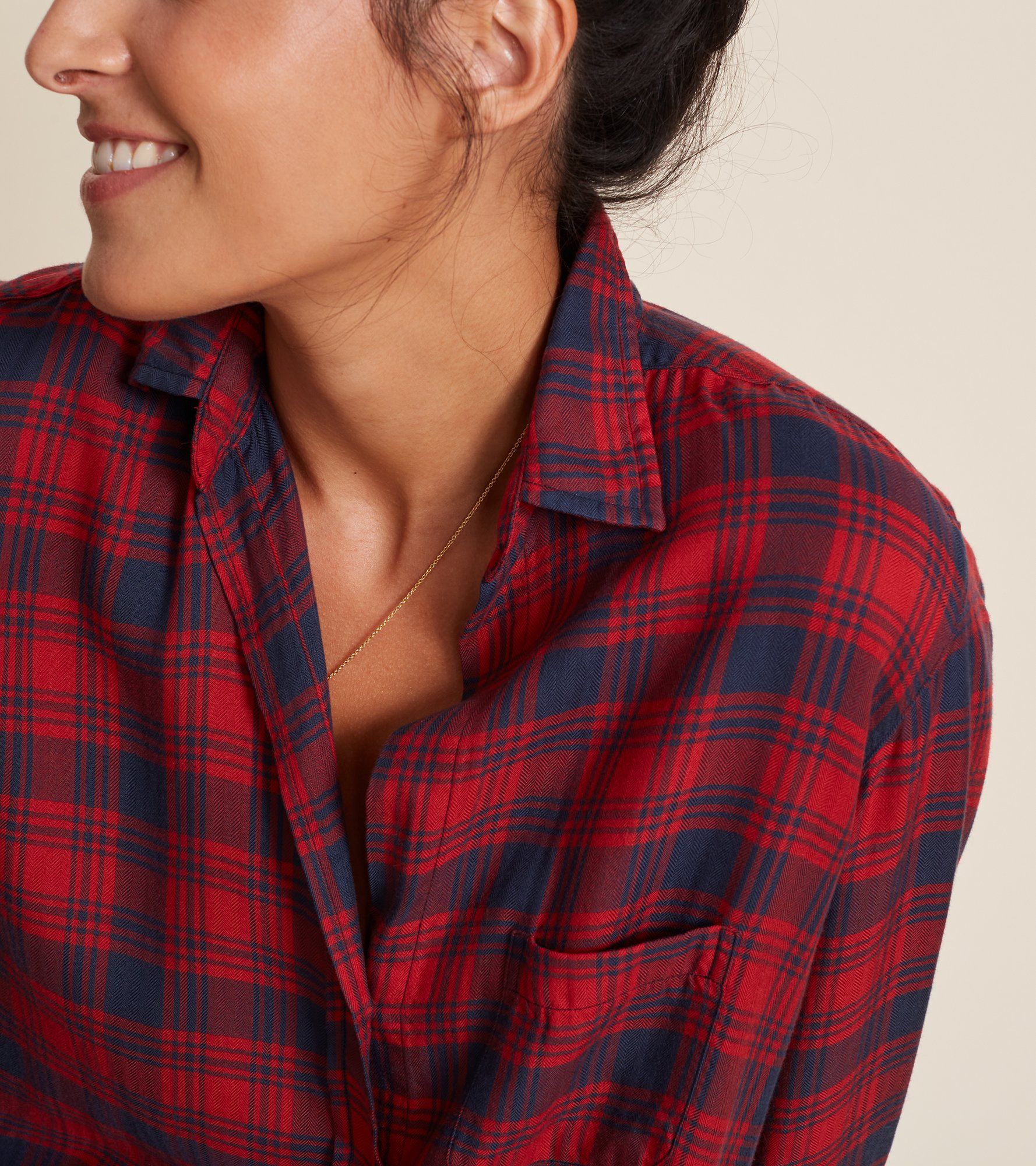 Image of The Hero Red and Navy Plaid, Liquid Flannel