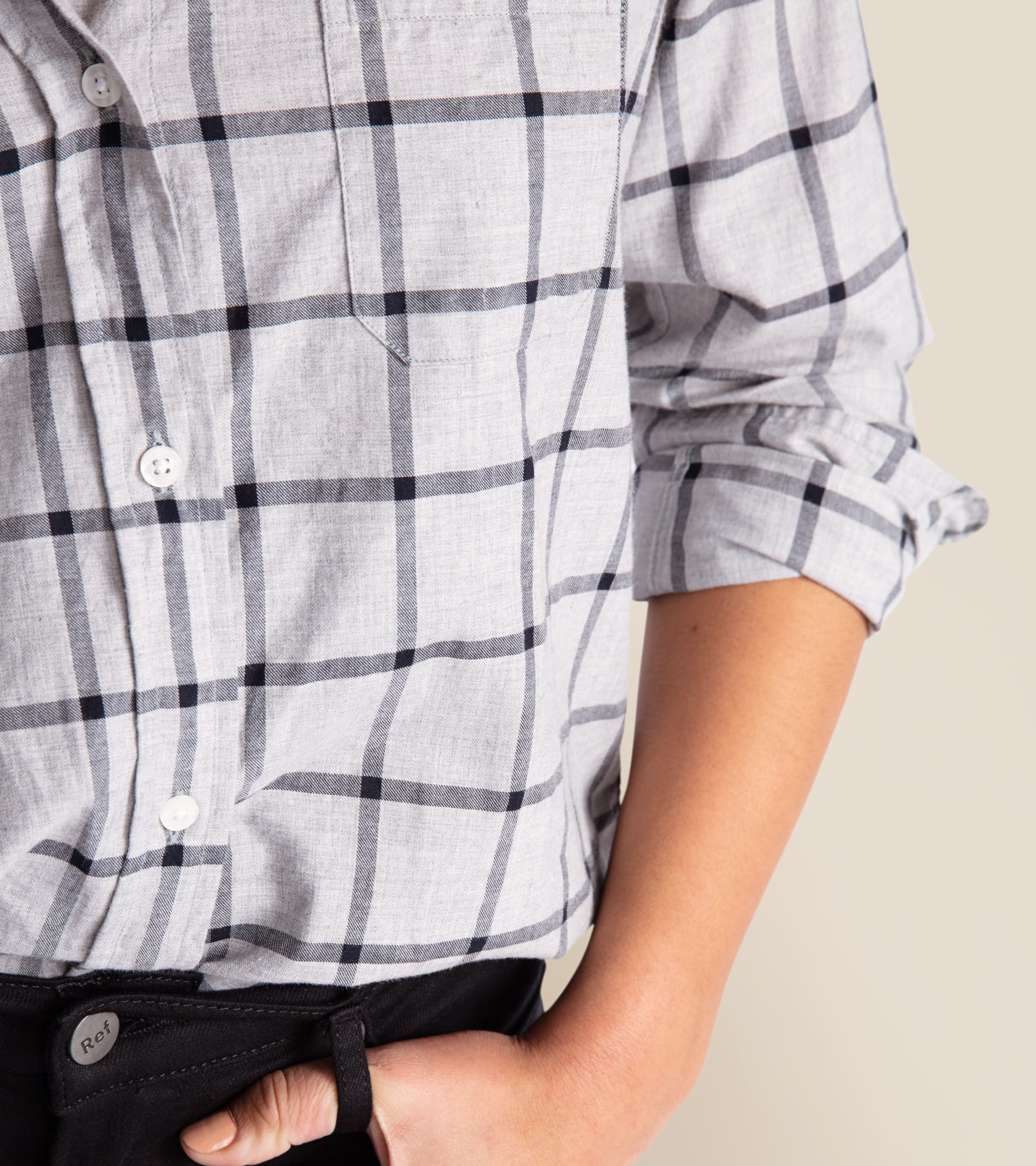 Image of The Hero Gray Melange with Black Check, Cozy Cotton Sale