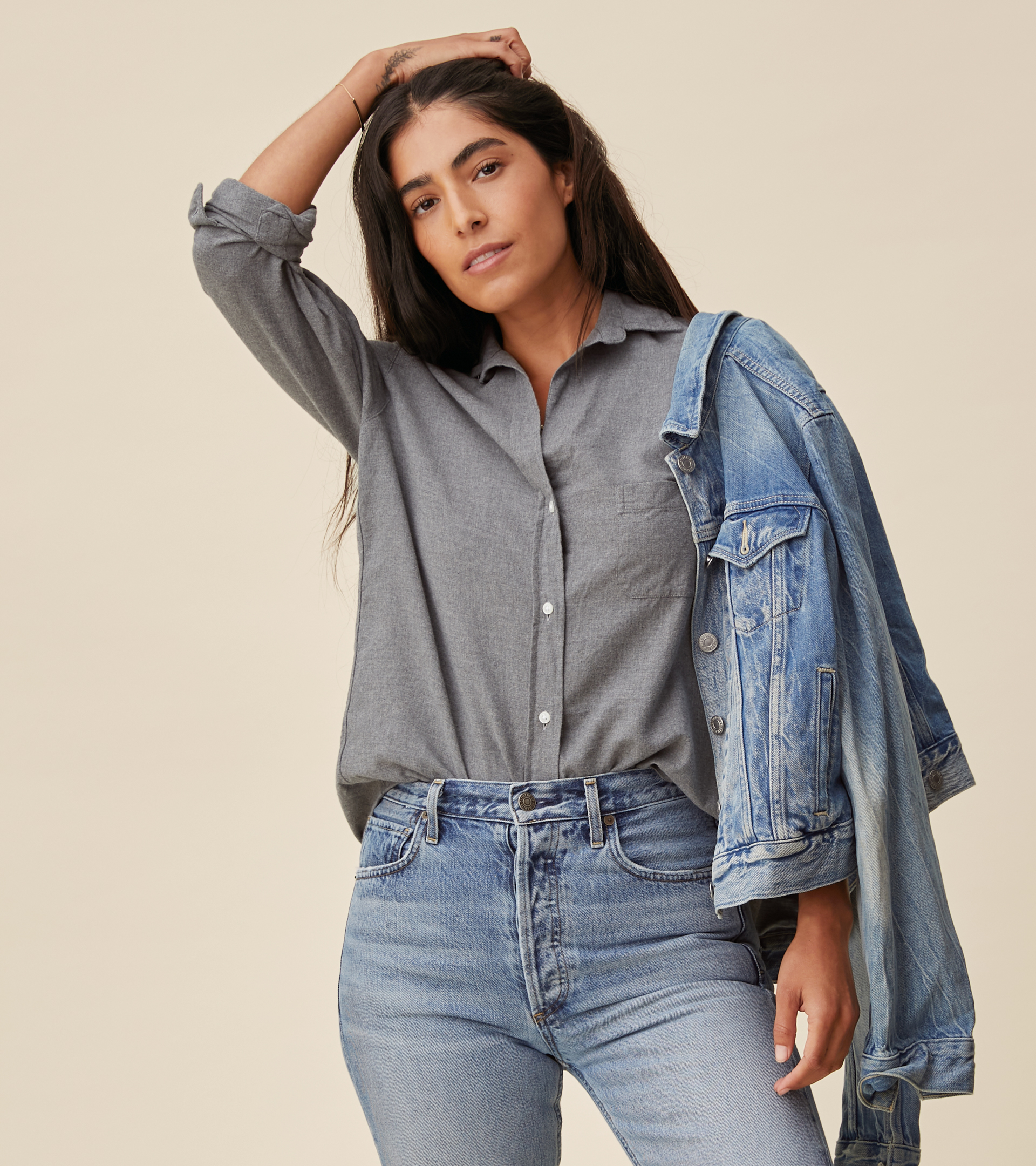 Image of The Hero Button-Up Shirt Gray Melange, Feathered Flannel