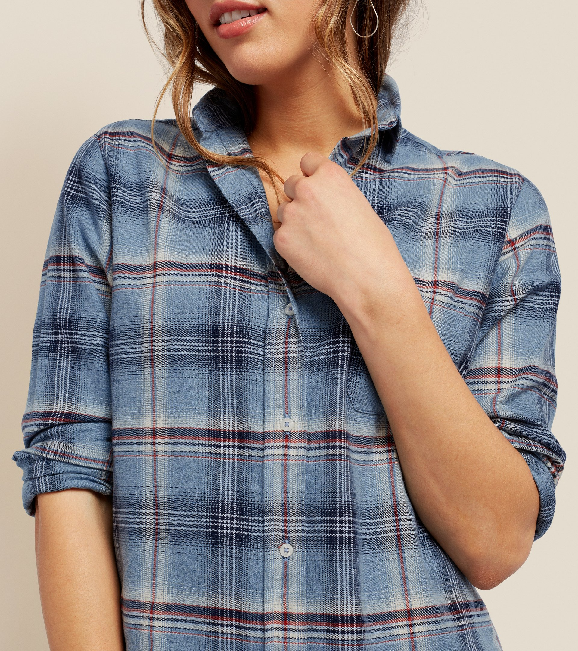 Image of The Hero Indigo Melange with Navy and Red Plaid, Feathered Flannel Sale