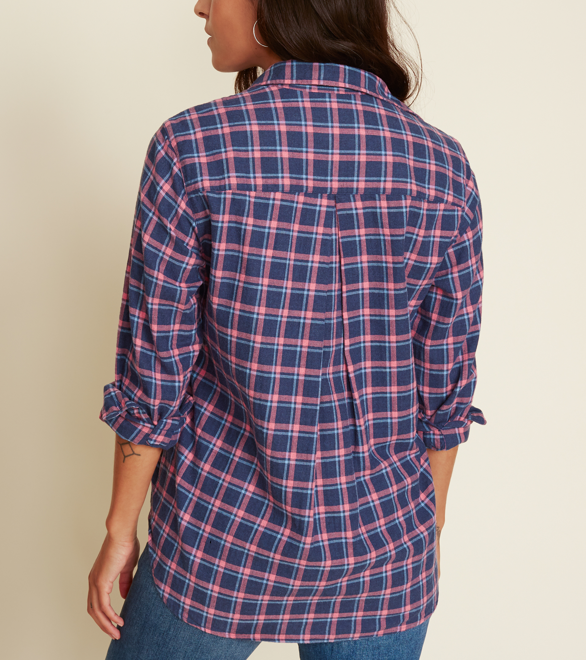 Image of The Hero Navy with Pink and White Plaid, Feathered Flannel Sale