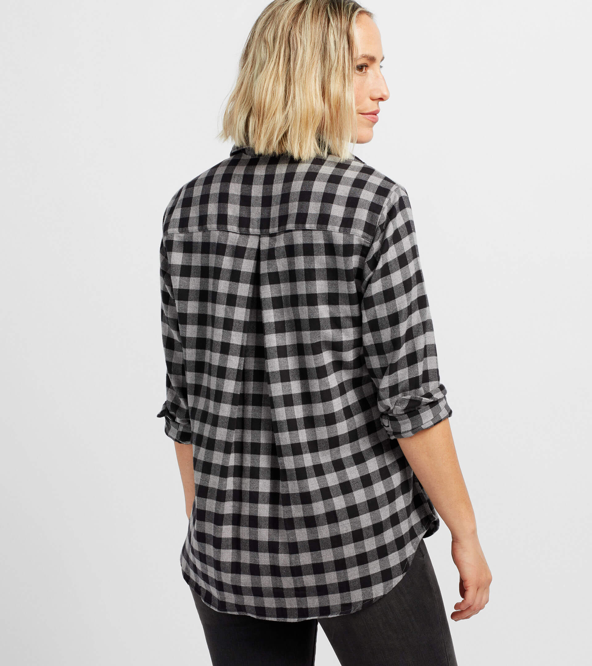 Image of The Hero Black and Gray Melange Check, Plush Flannel Sale