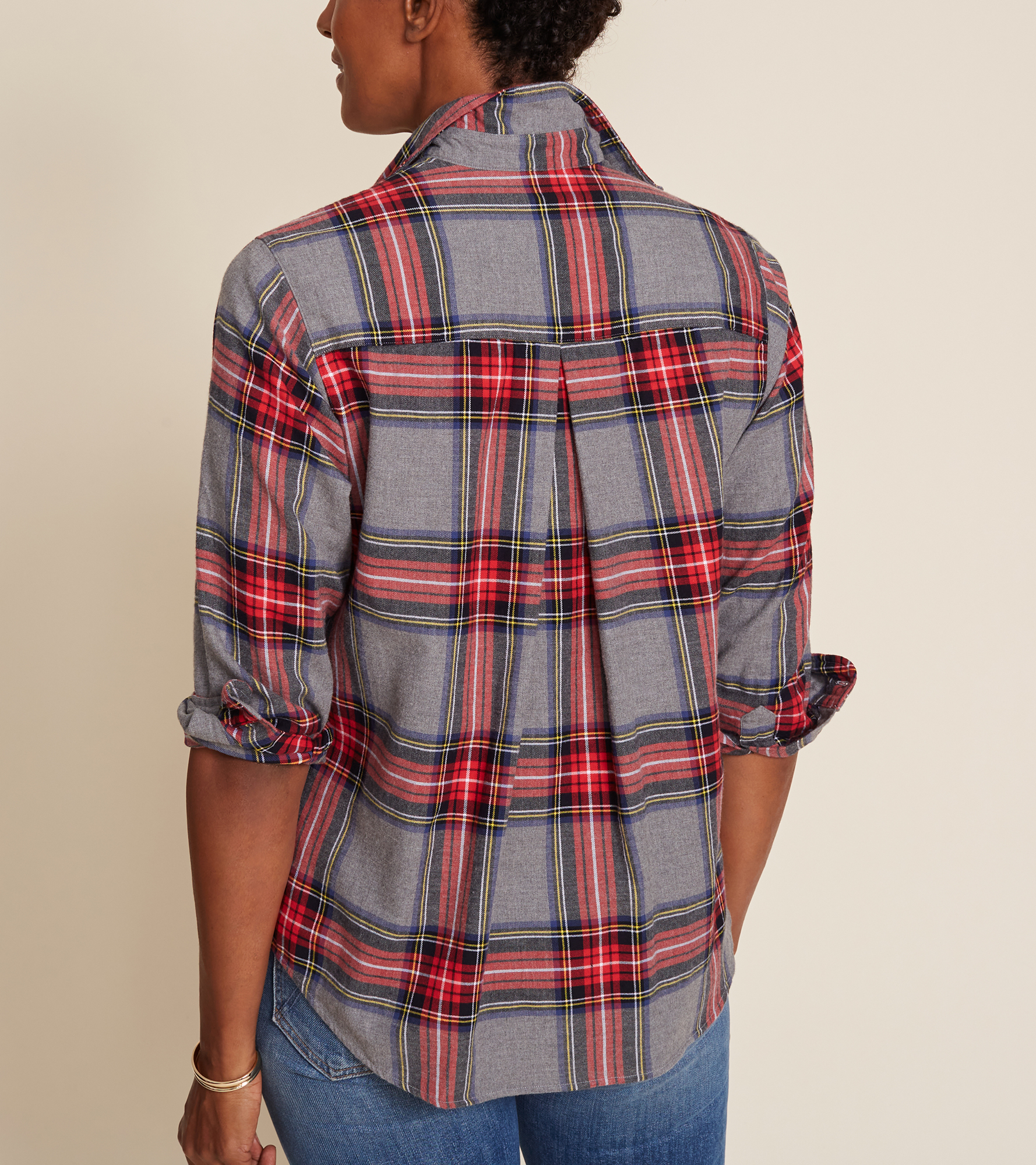 Image of The Hero Gray Melange with Red Plaid, Feathered Flannel Sale