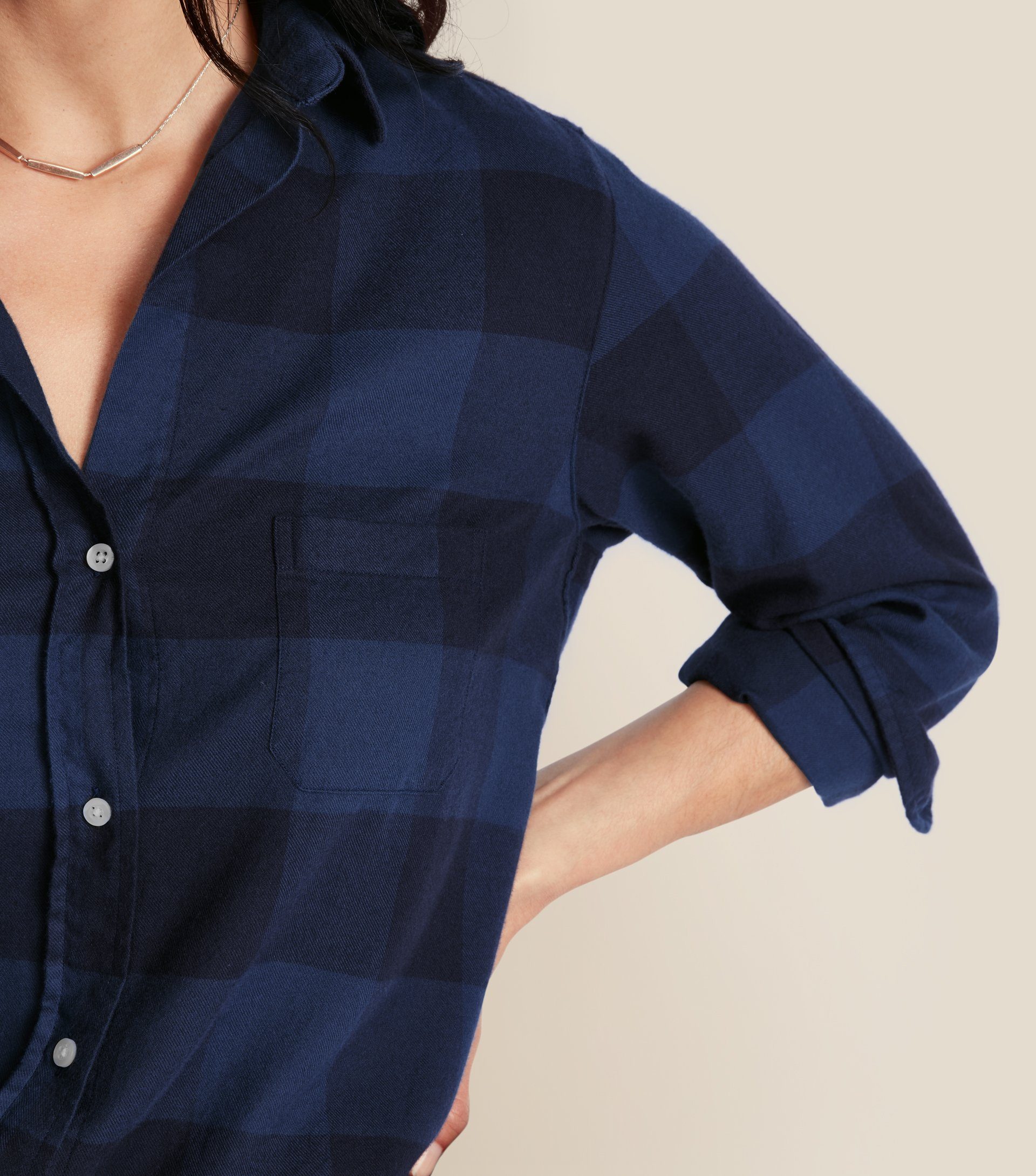 Image of The Hero Navy and Slate Check, Feathered Flannel
