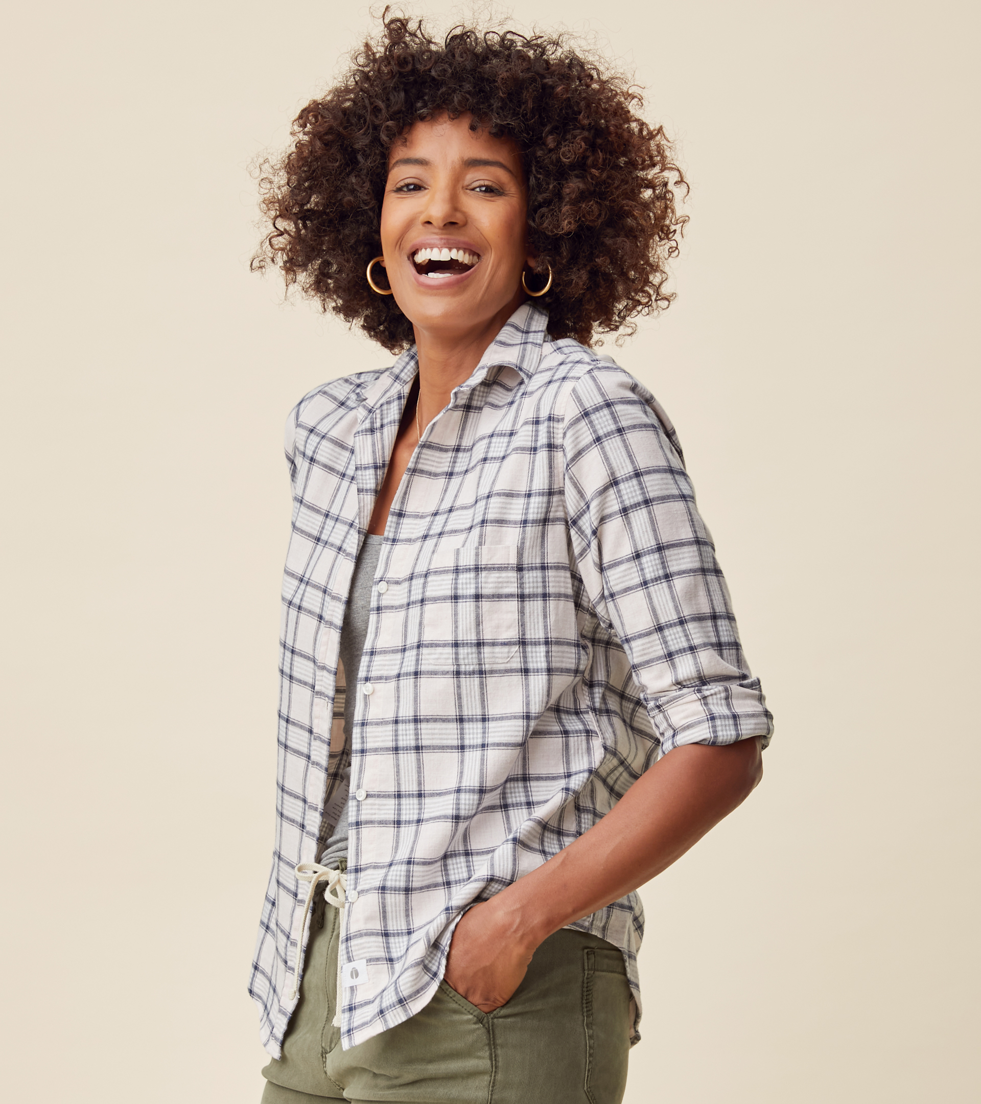 Image of The Hero Button-Up Shirt Pink Melange Plaid, Feathered Flannel