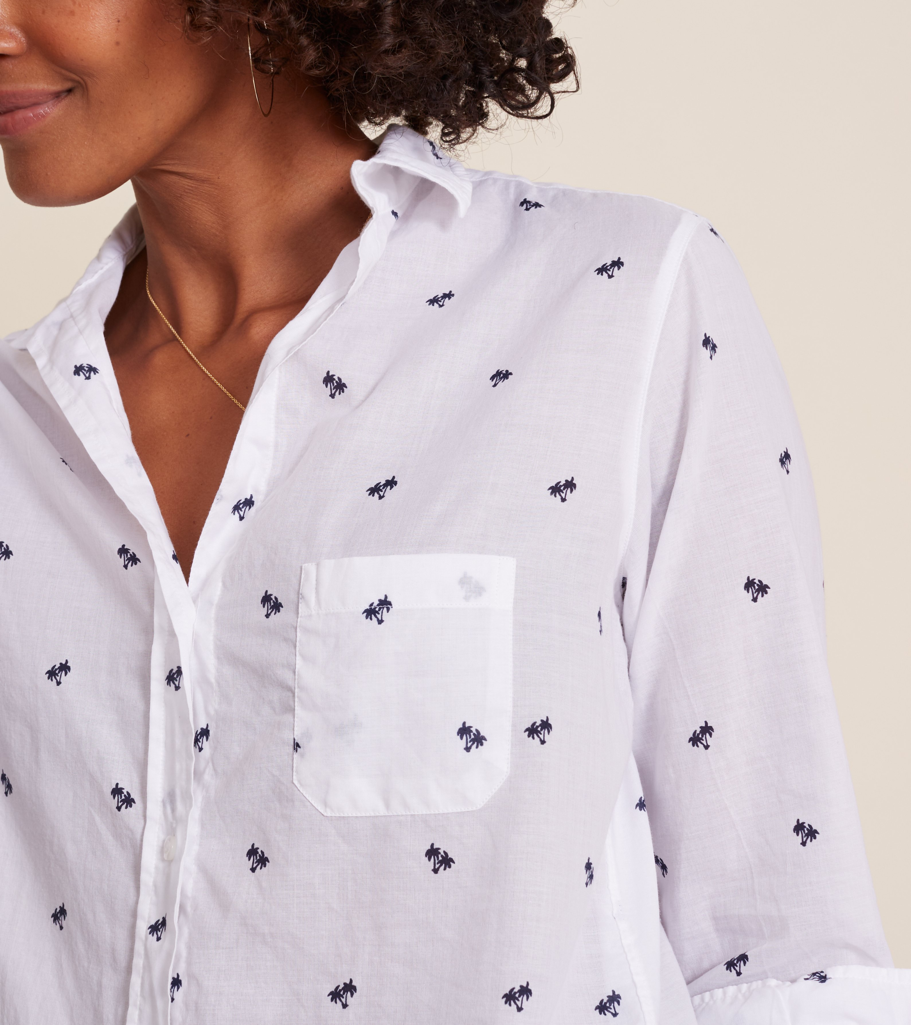 Image of The Hero White with Navy Palm, Tissue Cotton Sale