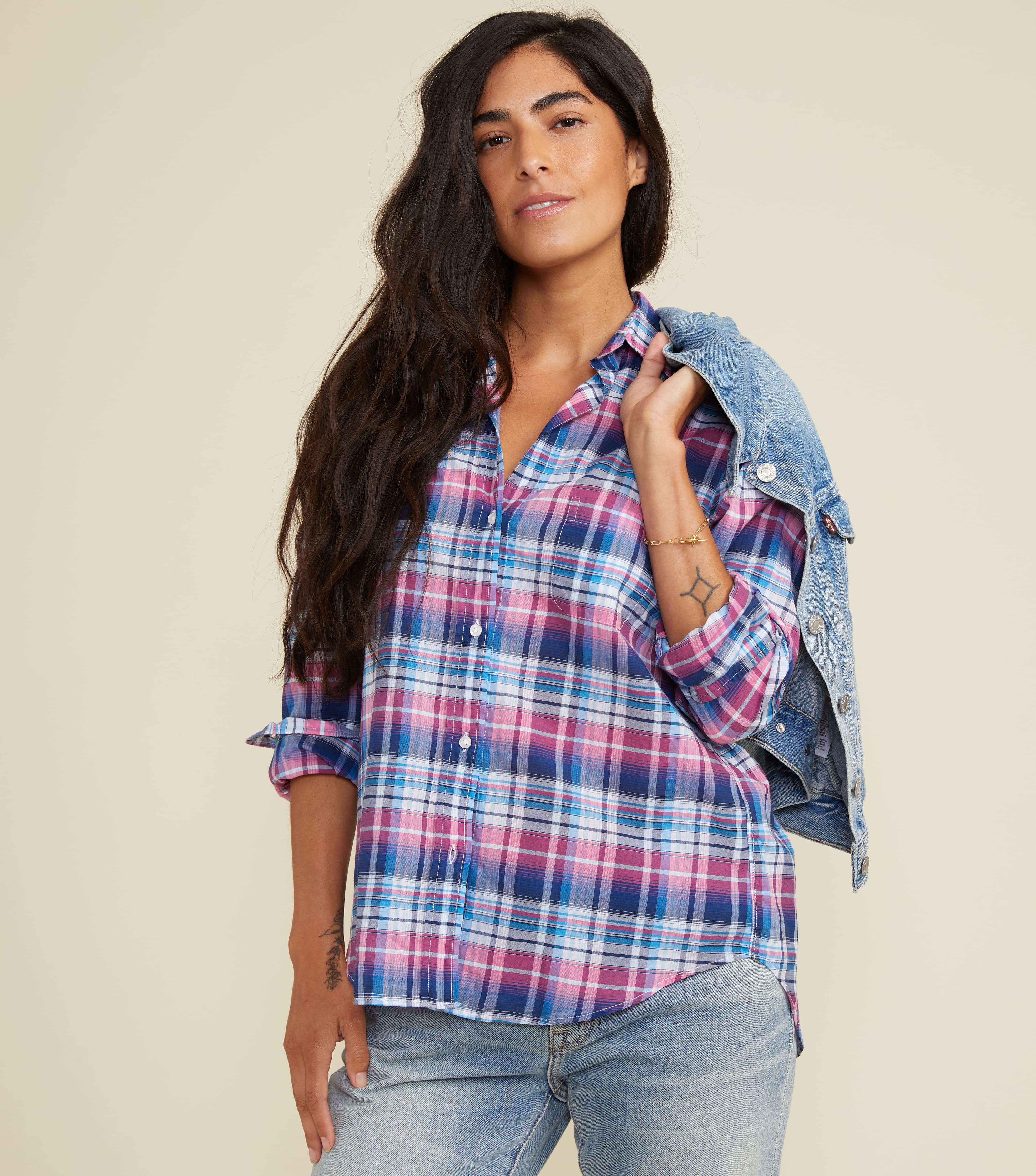 Image of The Hero Blue and Pink Multi Plaid, Tissue Cotton Final Sale