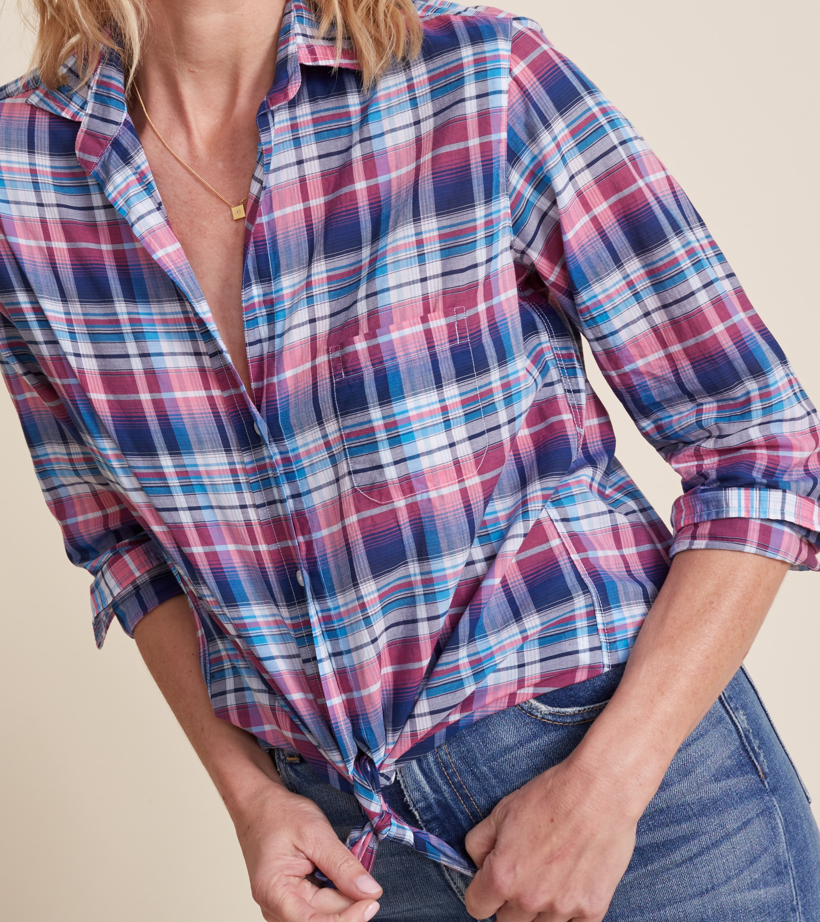 Image of The Hero Blue and Pink Multi Plaid, Tissue Cotton