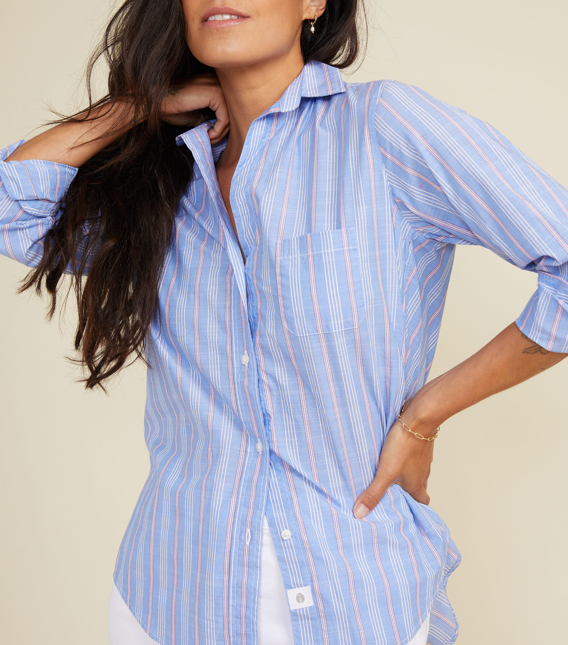 Image of The Hero Blue with Pink Stripe, Washed Cotton Final Sale