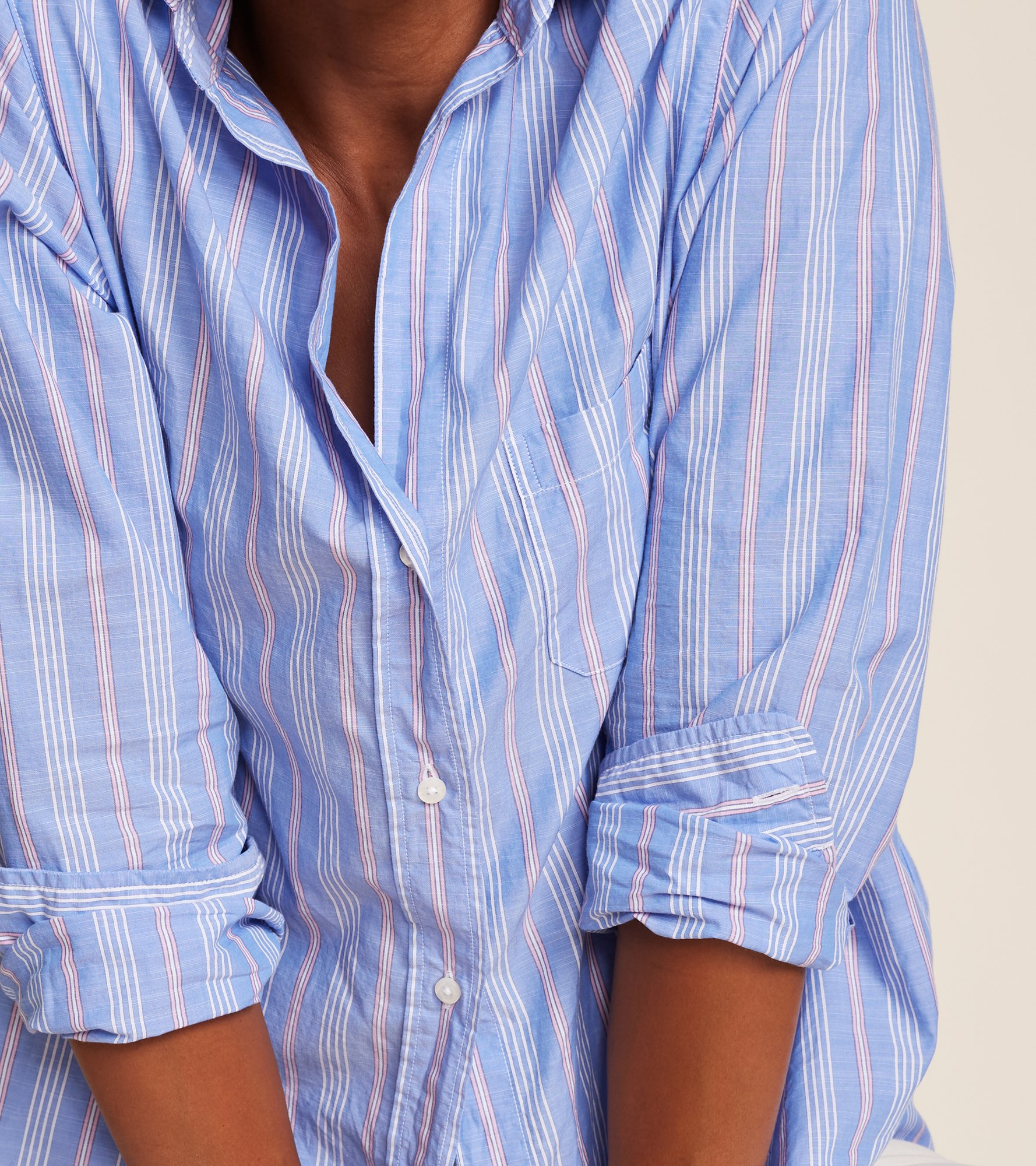 Image of The Hero Blue with Pink Stripe, Washed Cotton