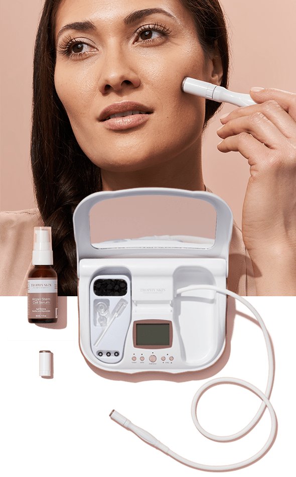 Two-panel photo of Sensitive Skin Specialist; Woman using MicrodermMD