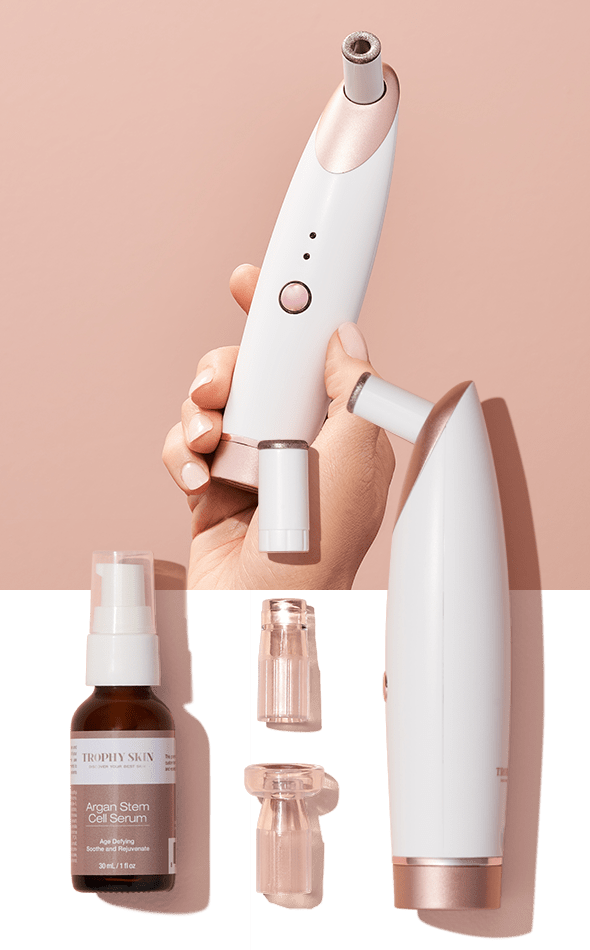 Two-panel photo of Beginners Set; Hand holding MiniMD, Anti-Aging Serum, and Tips