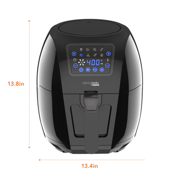 Sizes of Skinnytaste by Vremi Air Fryer - XL Capacity, 5.8 Quart, 1700 Watt, Digital Touch Screen with 8 Cooking Presets, Bonus Recipe Booklet
