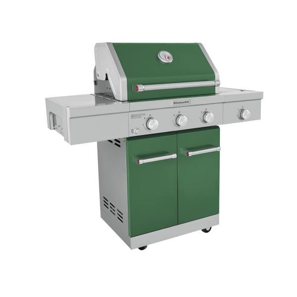 3-Burner Propane Gas Grill w/ Ceramic Side Burner (Green)