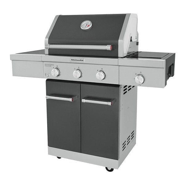 3 Burner Outdoor Propane Bbq With Side Burner In Slate