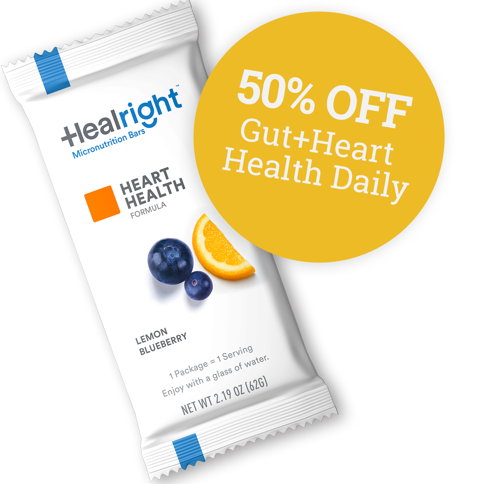 50% Off Gut + Heart Health Daily with Lemon Blueberry flavor