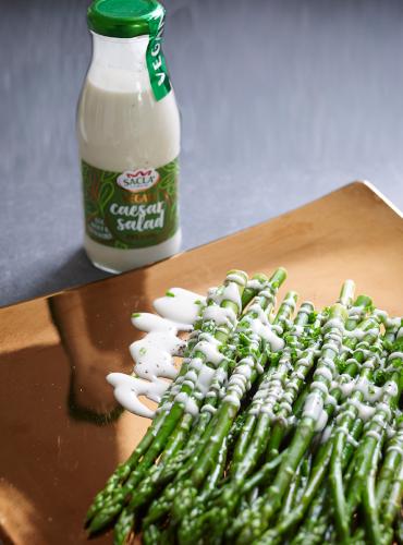 Asparagus with Vegan Caesar Salad Dressing