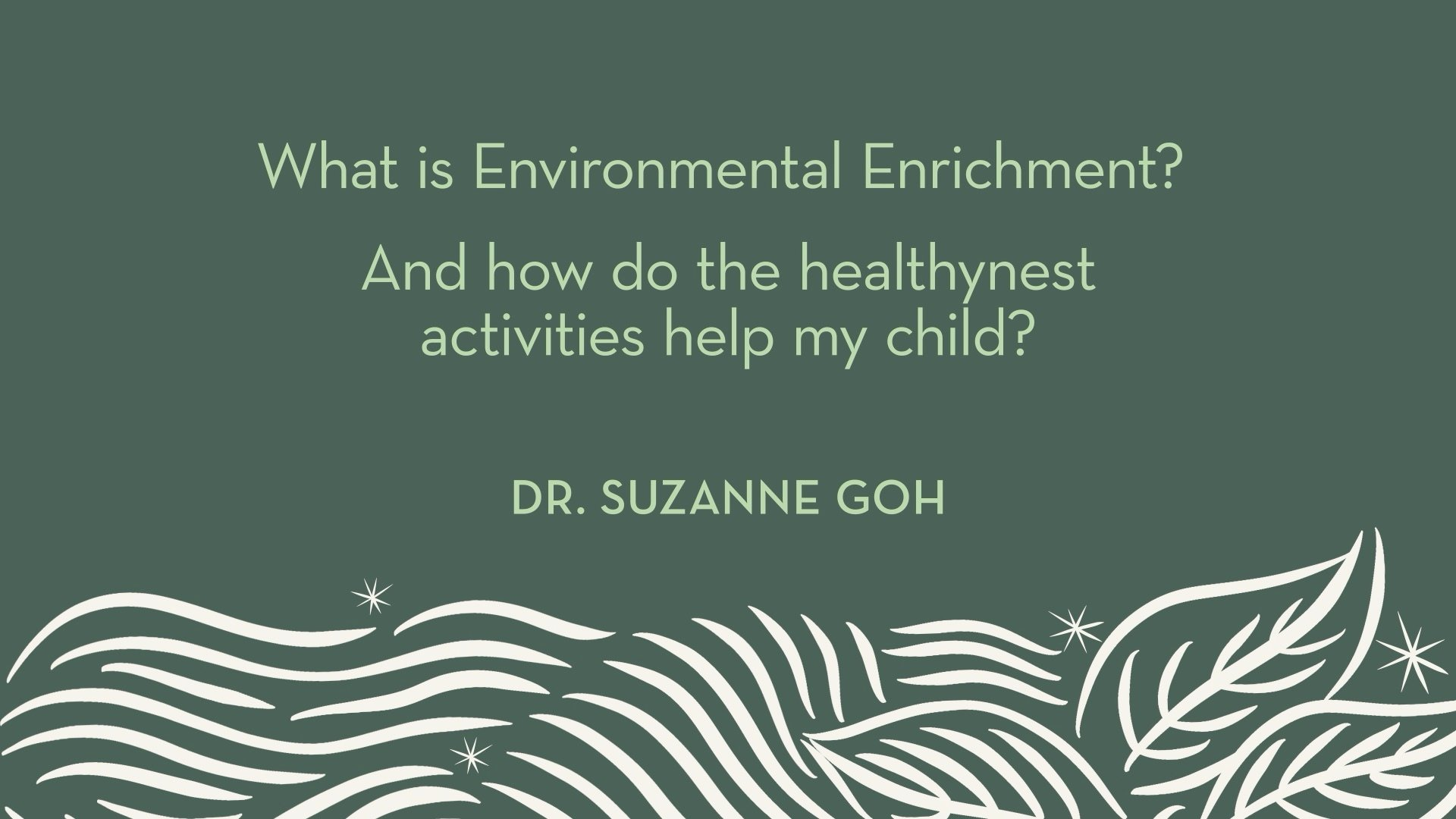 Dr. Goh | What is Environmental Enrichment? and how do the healthynest activities help my child?