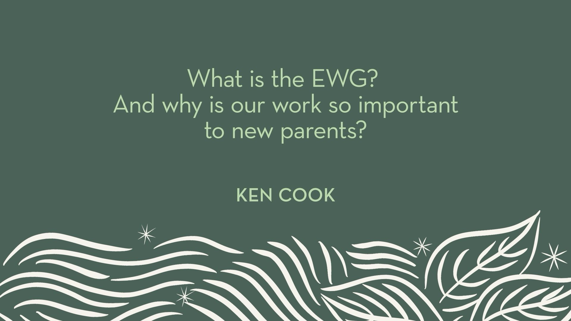 Ken Cook | What is the EWG? And why is our work so important to new parents?