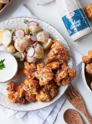 Spicy Cauliflower Wings & Potato Salad with Vegan Blue Ch**se Dressing by @gingervegan