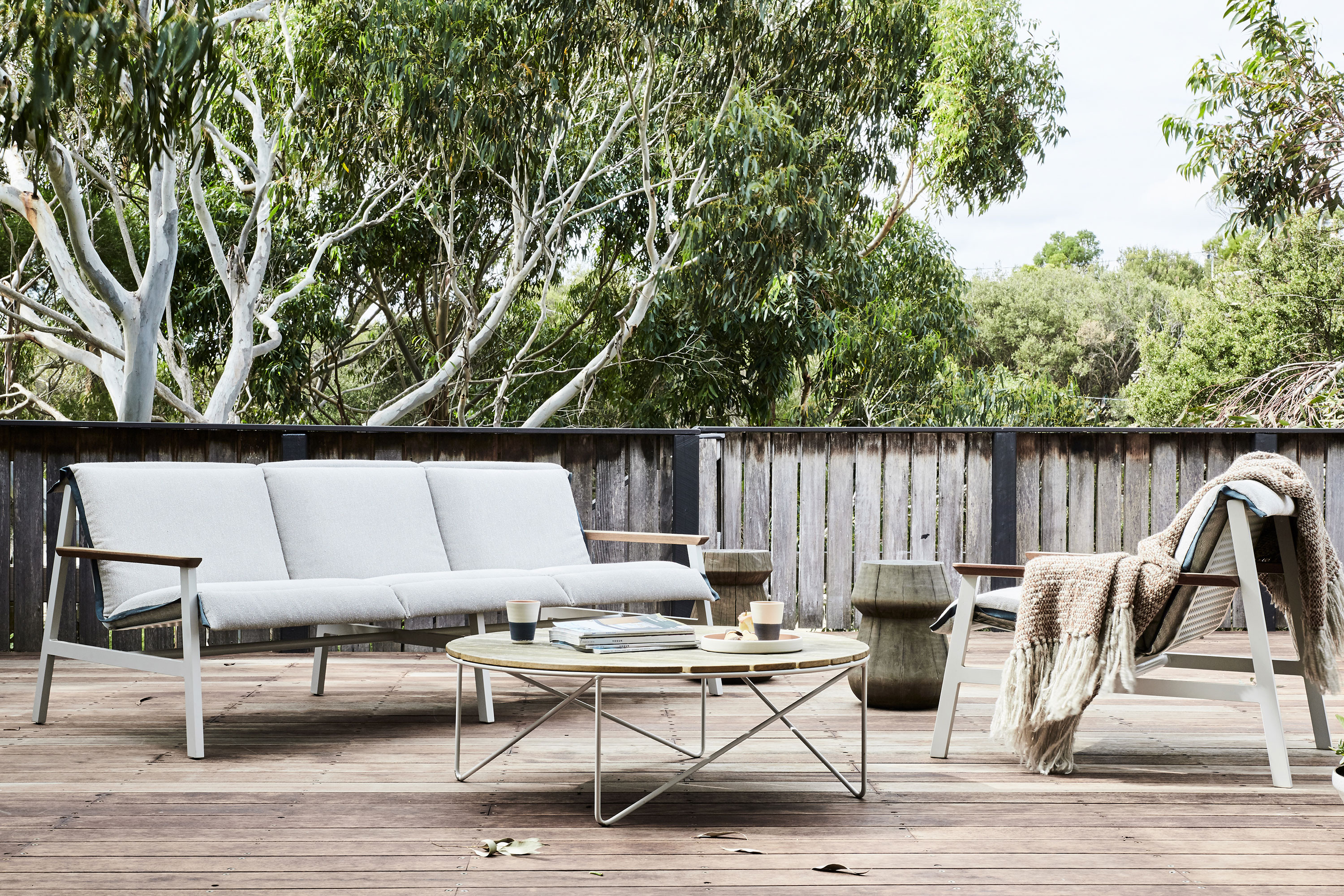 Mac Sofa, Fred Outdoor Coffee Table, Stanley Stool + Mac Armchair