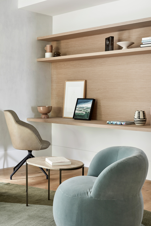Mina Executive Chair, Alice Side Table Pebble Rug + Joy Armchair