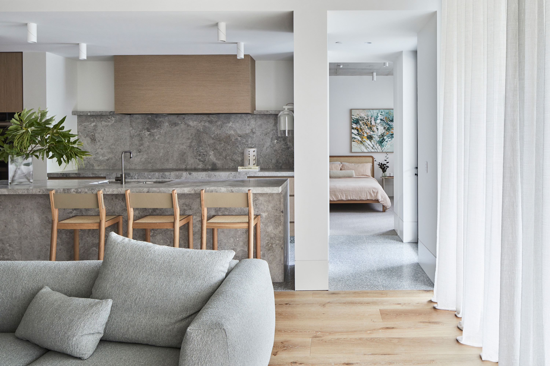 Miller Sofa, Brooklyn Bar Stool, Willow Bed + Airo Bed Linen