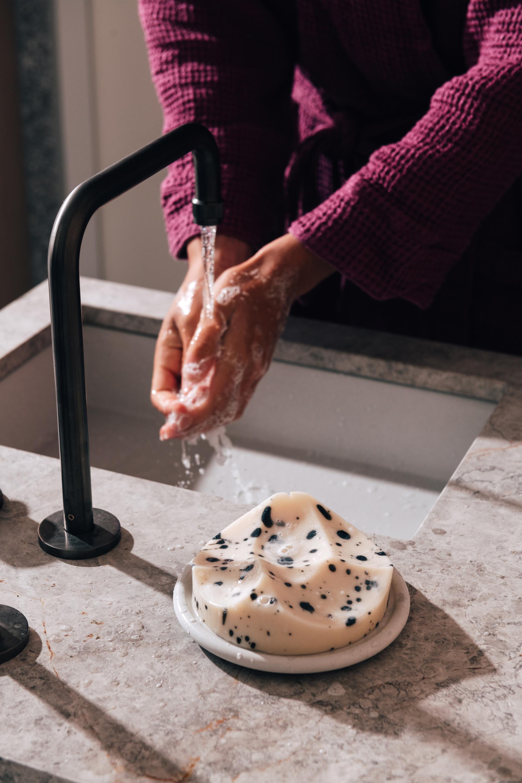 Juno Robe in Plum, Erode Soap in Grapefruit + Bouton Dish in White