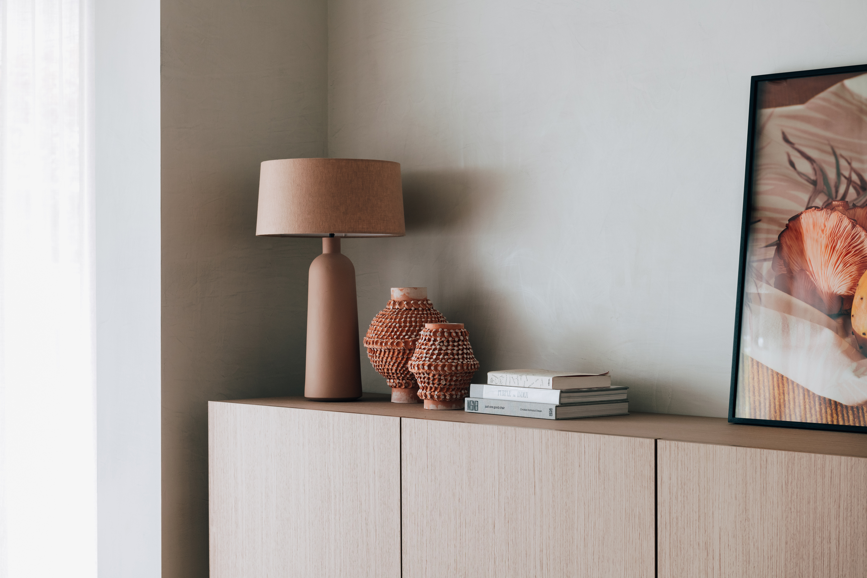 Heath Table Lamp, Large Dot Vase, Small Dot Vase + Blush by Victoria Zschommler