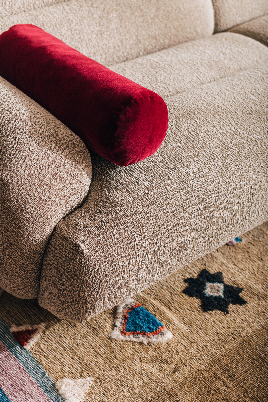 Valley Sofa, Dari Moss Rug + Bolster Cushion in Mulberry