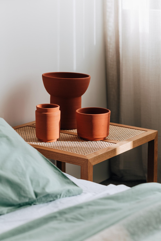 Vessel 010, 013 & 033 in Terracotta, Billie Side Table + Stonewash Eucalyptus Bed Linen