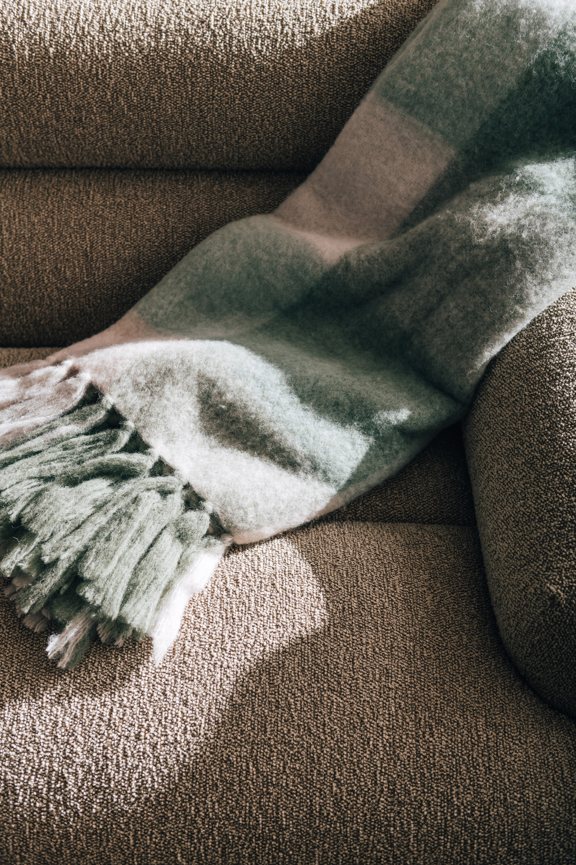 Valley Sofa + Easton Blanket in Sage & Natural