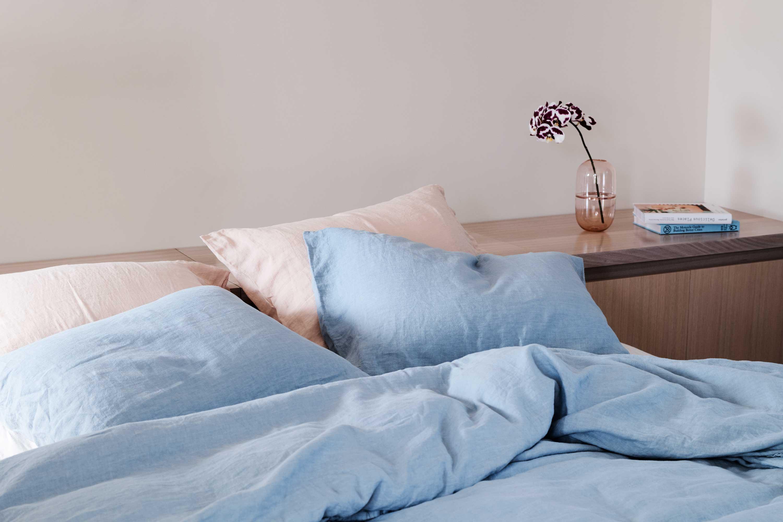 Airo Nude Bed Linen, Airo Sky Bed Linen + Sugarpill in Aurora Pale