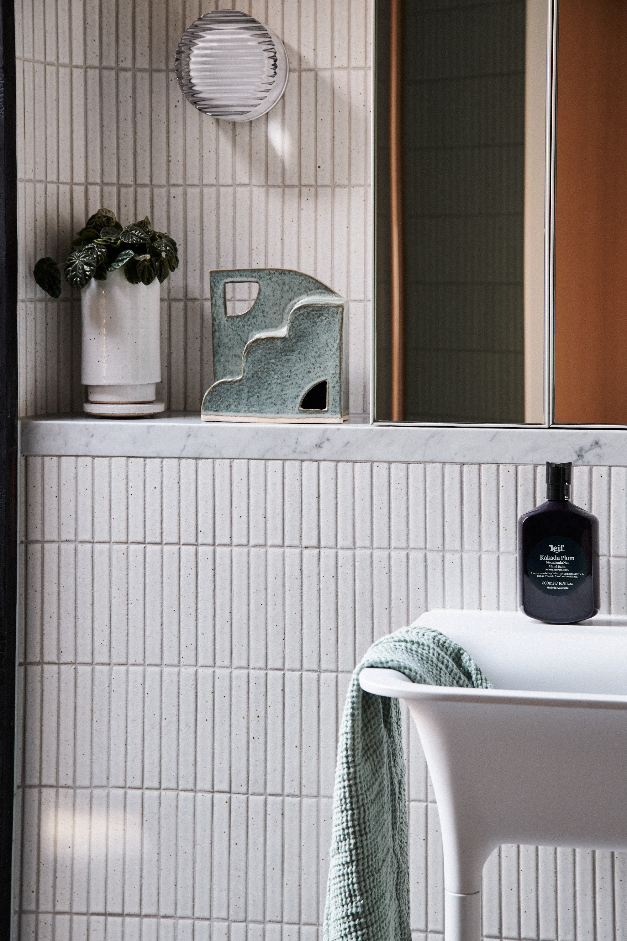 Bazaar Object in Eucalyptus + Juno Hand Towel in Sage