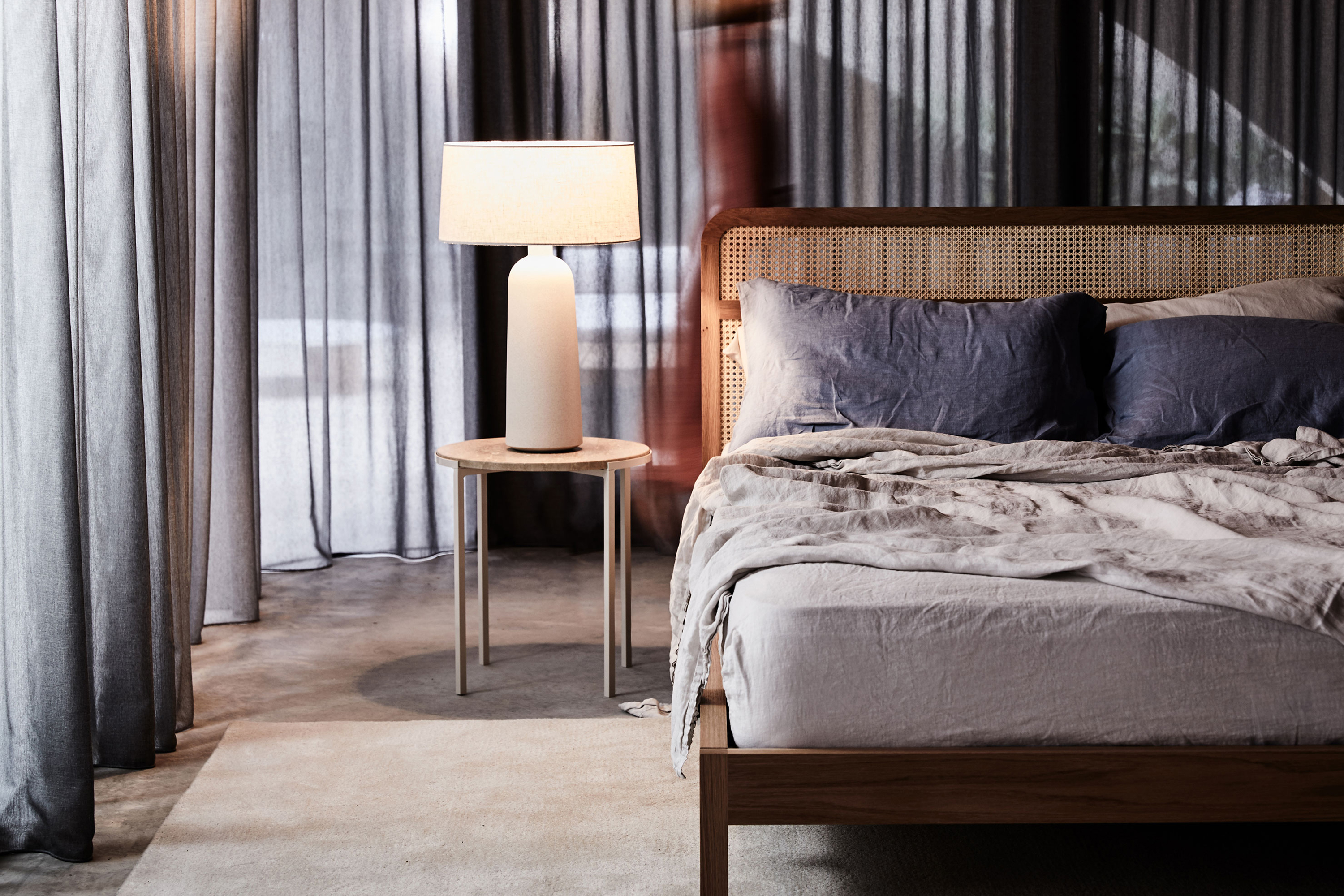 Heath Lamp, Alice Side Table, Willow Bed, Airo Grey Bed Linen + Airo Sky Bed Linen