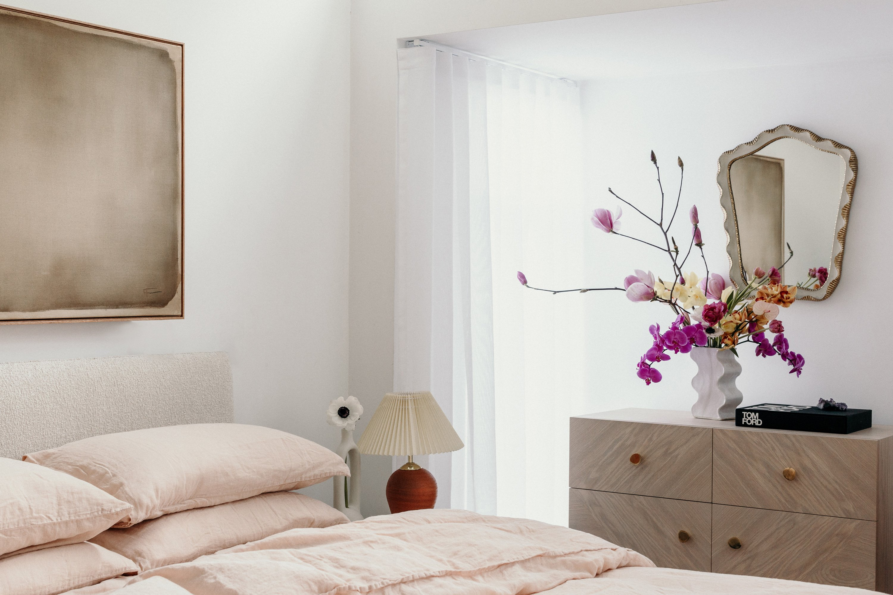 Nook High Back Bed, Airo Nude Bed Linen, Noah Sideboard + Wave Vase in Oyster