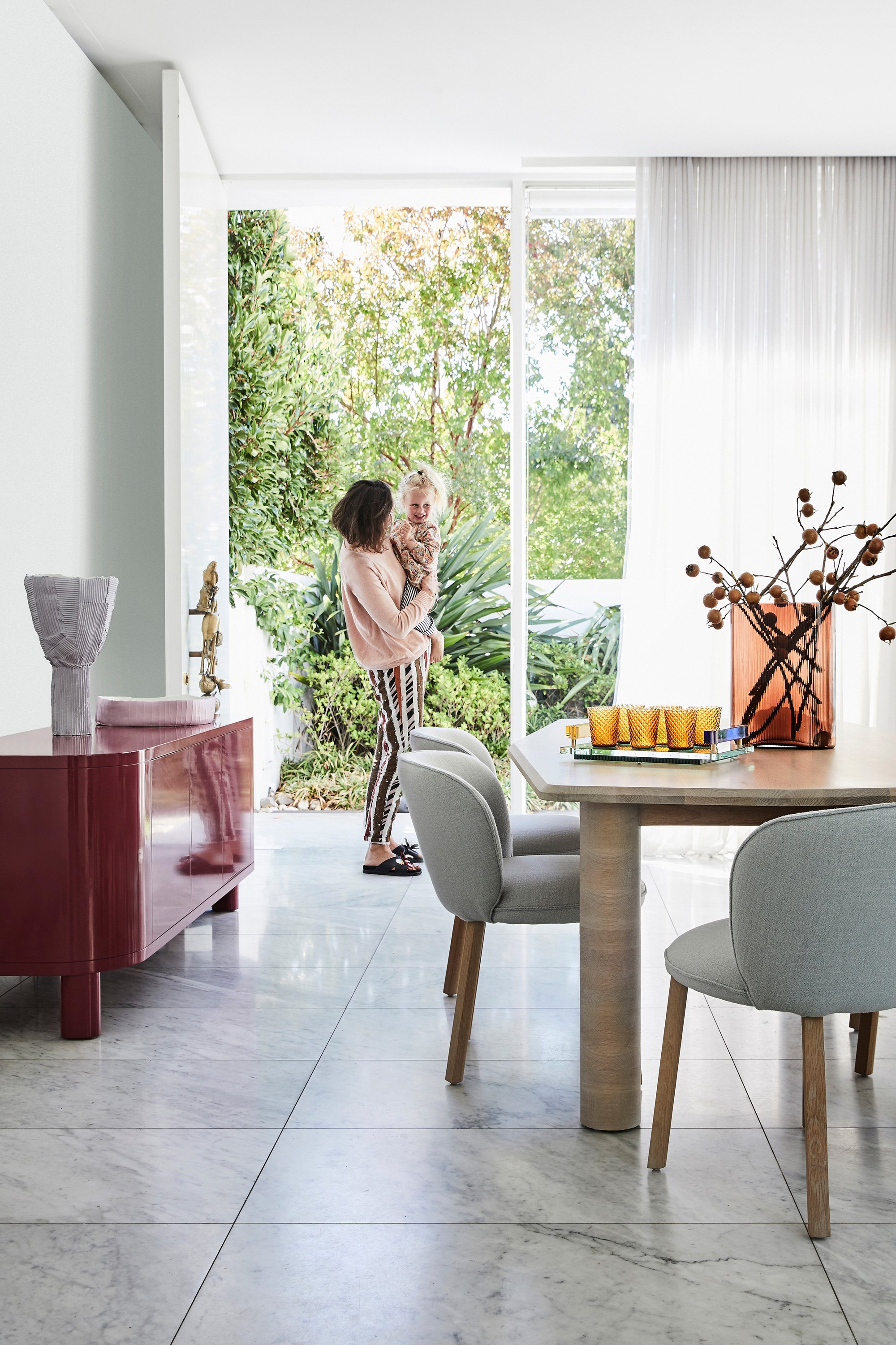 Preston Sideboard, Arte Dining Table, Stanford Dining Chairs + Large Mist Vase in Amber