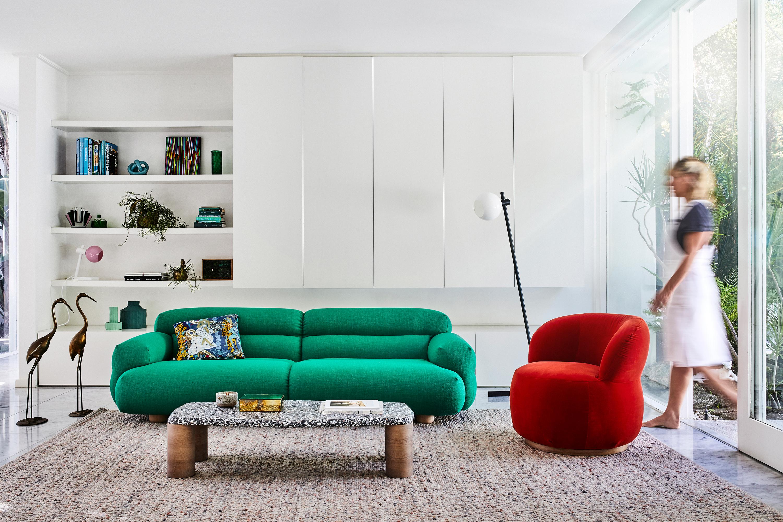 Valley Sofa, Terra Candle, Bam Bam Rug in Coral + Joy Armchair