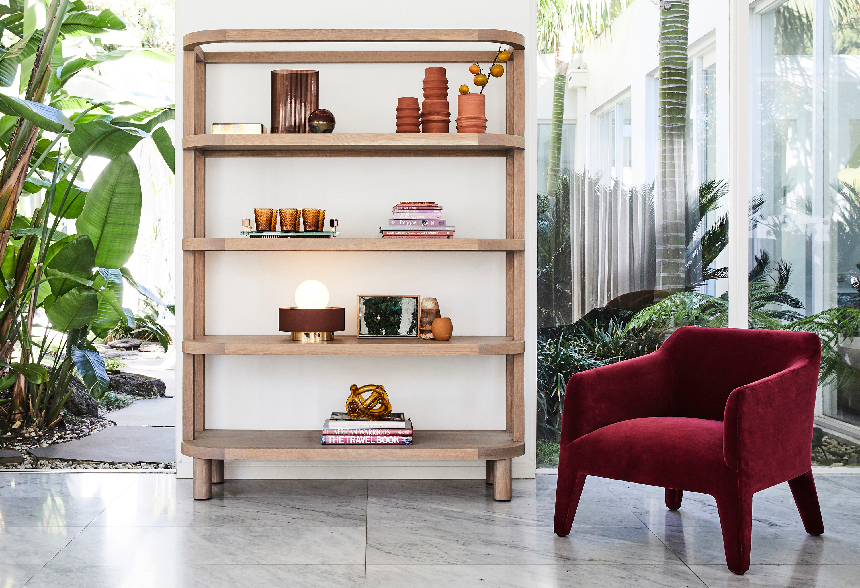 Preston Bookshelf, Small Mist Vase in Amber, Wrap Knot in Amber + Kelly Armchair