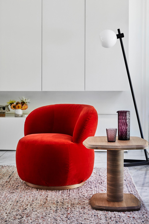 Joy Armchair, Arte Side Table + Bam Bam Rug in Coral
