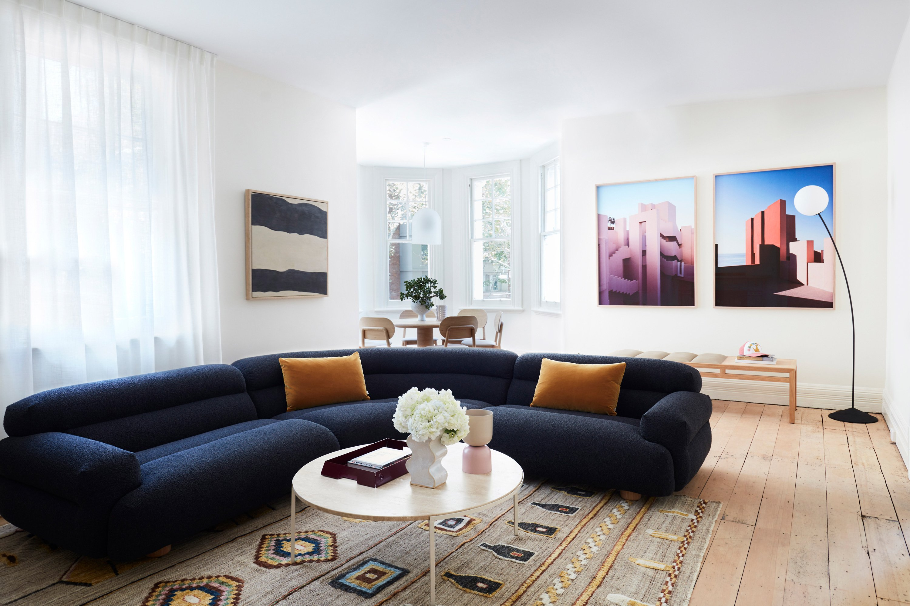 Valley Modular, Elk Mustard Cushions, Alice Coffee Table, Wave Vase in Oyster, Dari Camel Rug, McKenzie Upholstered Dining Chairs, Arte Dining Table, Dawn Pendant, Monumen by Kane Alexander, Bofill by Kane Alexander, Billie Bench + Boyd Floor Lamp