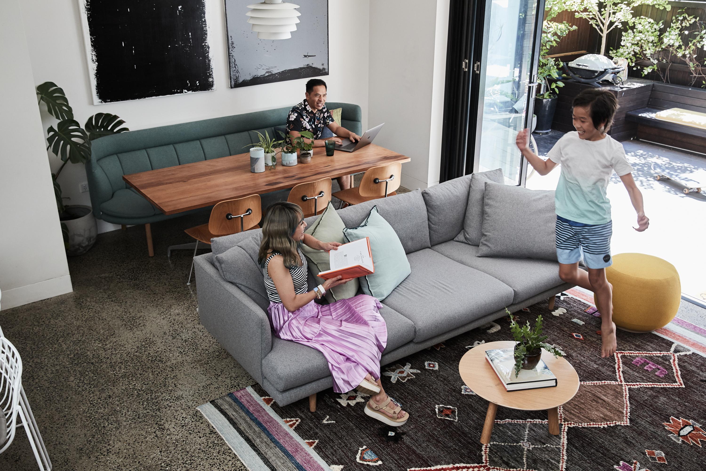 Franklin sofa (custom) + Nook sofa + Dari rug + Olba coffee table + Joy ottoman + Luca cushions